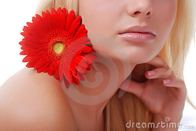 Face of woman and flower
