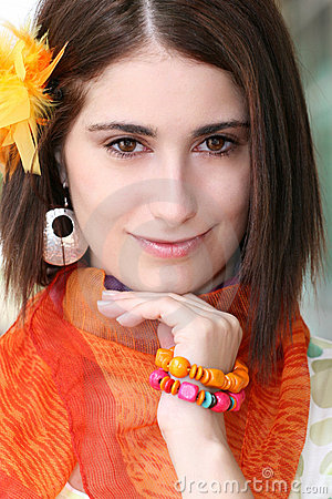 Face of a Woman with Orange Accessories