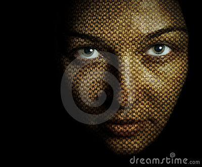 Face of woman with textured skin mask