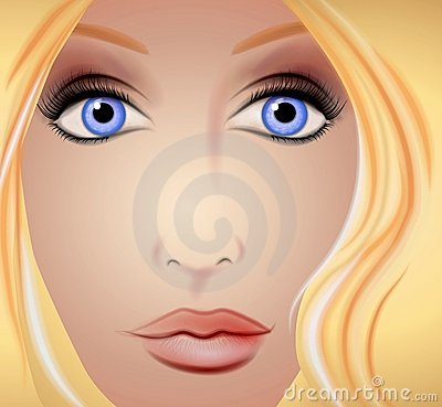 Face of Woman Up Close Blonde