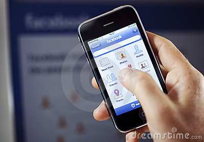 Facebook App on Apple iPhone Editorial Stock Image