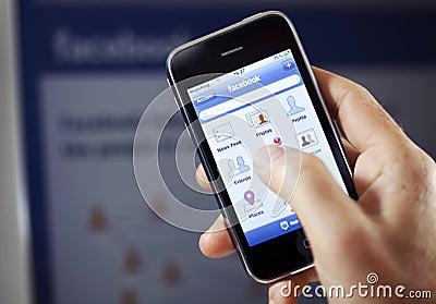 Facebook App on Apple iPhone Editorial Stock Image