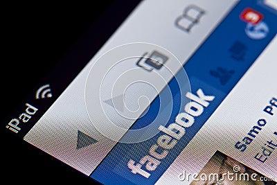 Facebook on Apple iPad Editorial Photo