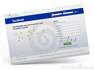 Facebook.com home page Editorial Stock Photo