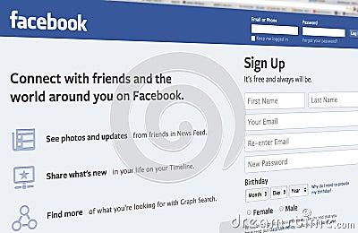 Facebook entrance page Editorial Stock Image