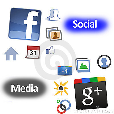 Facebook google加号与 编辑类库存图片