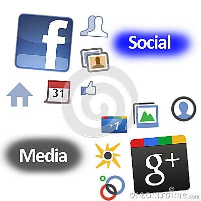 Facebook Google plus vs Obraz Stock Editorial