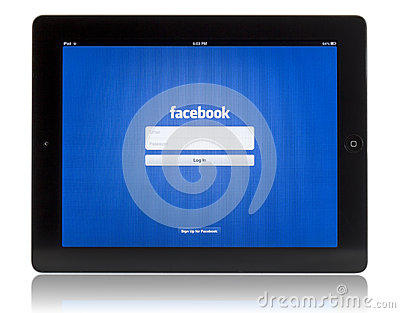 Facebook on iPad 3 Editorial Stock Photo