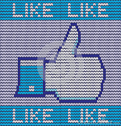 Facebook like button made of wool Editorial Photo