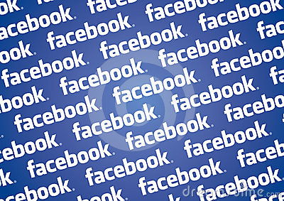 Facebook logo wall Editorial Stock Image