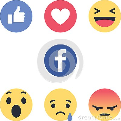 Facebook round icons new logos emojis Editorial Stock Photo