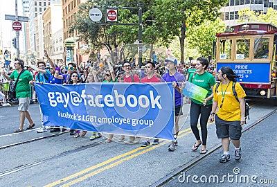 Facebook in San Francisco gay pride Editorial Stock Photo