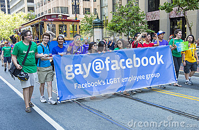 Facebook in San Francisco gay pride Editorial Photography