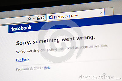 Facebook site is down Editorial Stock Image