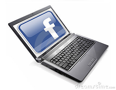 Facebook social network accessed on laptop Editorial Stock Photo