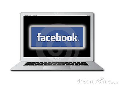 Facebook social network accessed on Macbook Pro Editorial Stock Photo