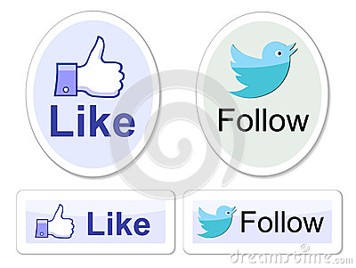 Facebook and twitter like it buttons Editorial Stock Image