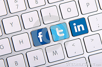 Facebook Twitter and Linkedin keyboard Editorial Photography