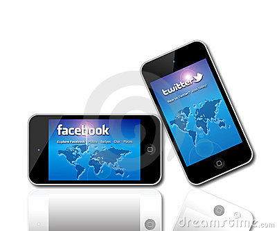 Facebook and Twitter social network giants Editorial Image