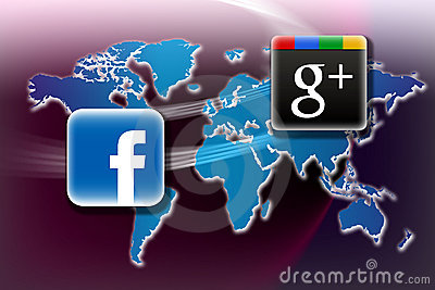 Facebook v Google Plus Editorial Image