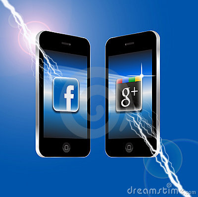 Facebook v Google Plus Editorial Stock Photo