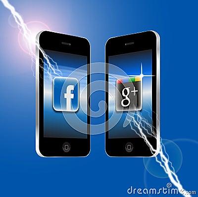 Facebook v Google Plus Editorial Stock Photo