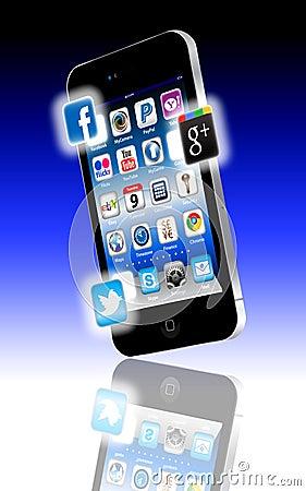Facebook V Google Plus V Twitter Apps Stock Photo - Image: 21792340