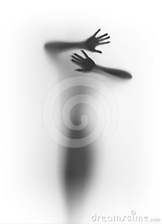 Faceless body stand front behind a curtain, hands,