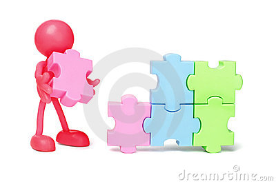 Faceless figurine and jigsaw puzzles