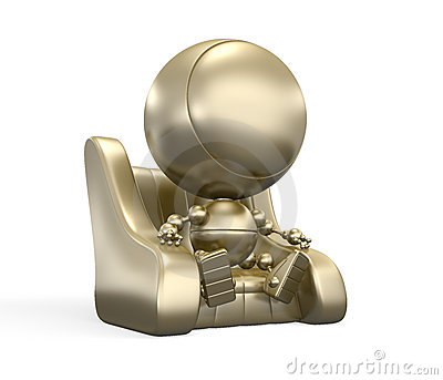 Faceless gold robot on the leather chair