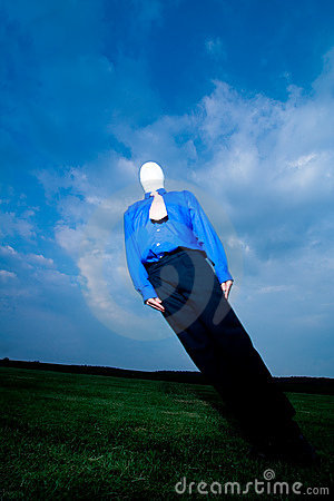 Faceless Man Leaning