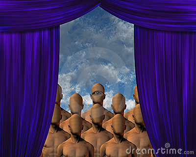 Faceless Masses behind curtain