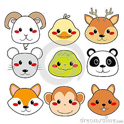 Faces animais felizes