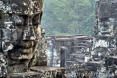 Faces Of Bayon Temple  Angkor, Cambodia Stock Photography - Image: 12724432