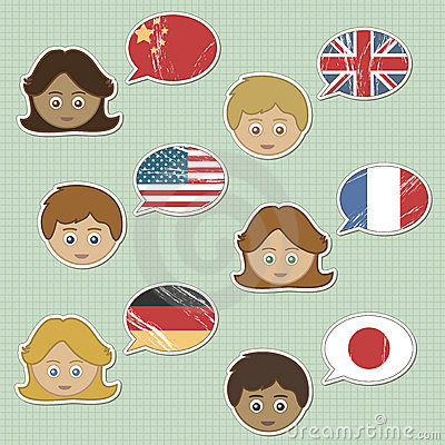 Faces and flag stickers