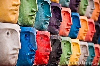 Faces, sculpture in Aveiro, Portugal Editorial Stock Image