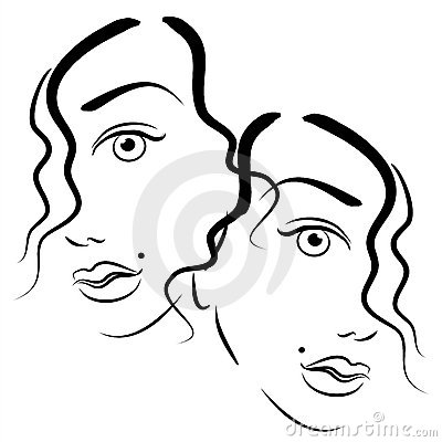 Faces of Women Clip Art