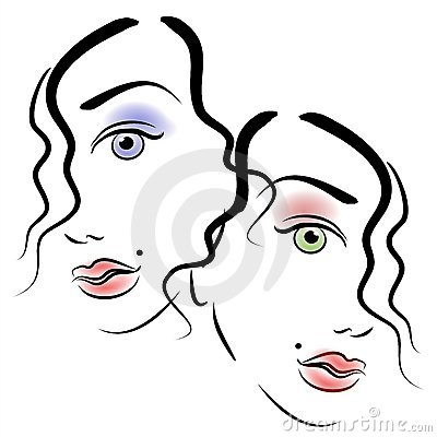 Faces of Women Clip Art 3
