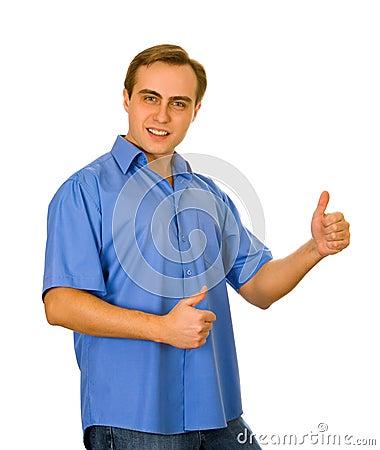 Facet odizolowywający pokazywać kciuk w górę biel dwa