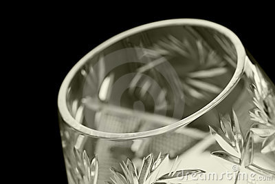 Faceted glass on a black background