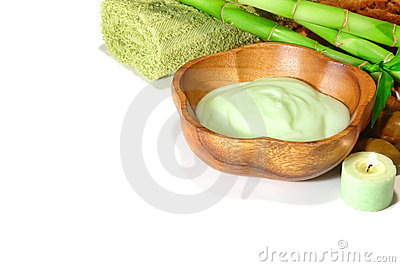Facial and Body Care Cream in a Wood Bowl in a Spa