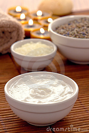 Facial and Body Treatment Cream in a Bowl in a Spa