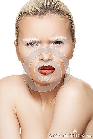 Facial emotion, high fashion make-up on model face
