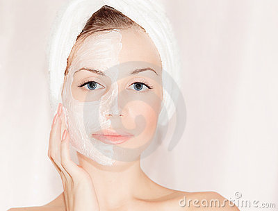Facial mask on beautiful face
