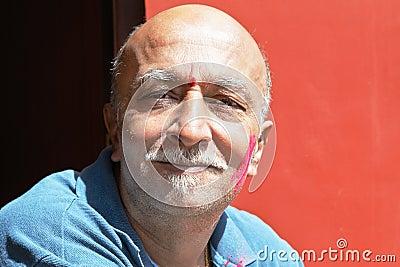 Facial of senior Indian Male van beard