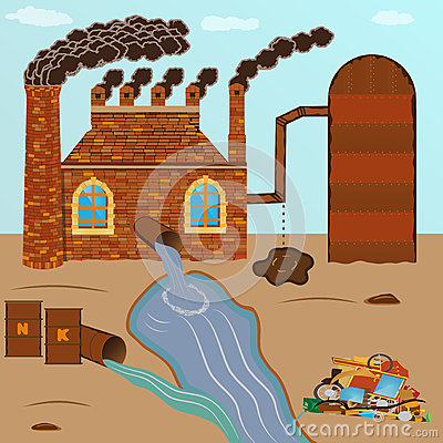 Free Factory Brick Smokes Pipes, Pollution Pours Through A Pipe With Royalty Free Stock Photos - 72569258