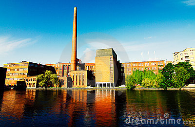 Factory buildings on river