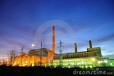 Factory in night