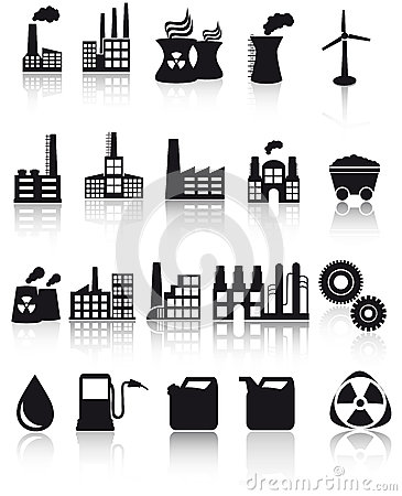 Factory and pollution icons