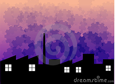 Factory silhouette with backdrop